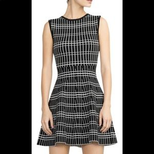 Zara Black and White Patterned Fit Flare Dress